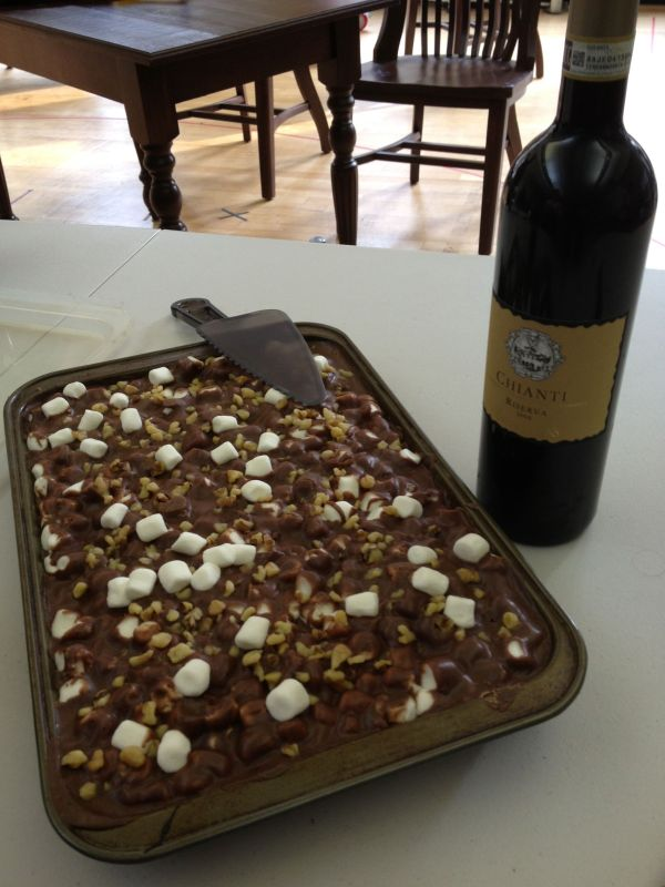 Mississippi Mud Brownies and wine